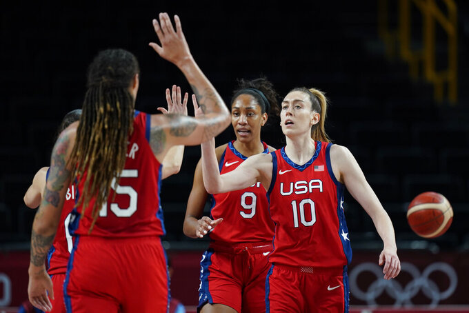 United States's Breanna Stewart (10) celebrates a score with teammates during a women's basketball quarterfinal game against Australia at the 2020 Summer Olympics, Wednesday, Aug. 4, 2021, in Saitama, Japan. (AP Photo/Eric Gay)