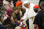 Pope Francis meets people during his weekly general audience, in Paul VI Hall at the Vatican, Wednesday, Jan. 15, 2020. (AP Photo/Alessandra Tarantino)