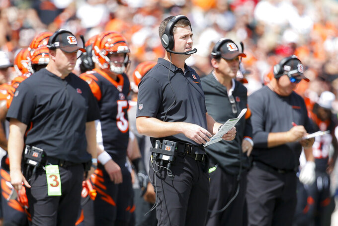 Cincinnati Bengals head coach Zac Taylor works the sidelines during the first half an NFL football game against the San Francisco 49ers, Sunday, Sept. 15, 2019, in Cincinnati. (AP Photo/Frank Victores)