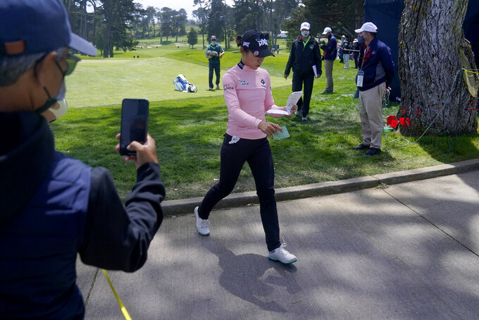 Lydia Ko walks to the 11th tee during the third round of the U.S. Women's Open golf tournament at The Olympic Club, Saturday, June 5, 2021, in San Francisco. (AP Photo/Jeff Chiu)