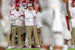 Arkansas head coach Chad Morris, wearing headset, watches during the first half of an NCAA college football game against Alabama, Saturday, Oct. 26, 2019, in Tuscaloosa, Ala. (AP Photo/Vasha Hunt)