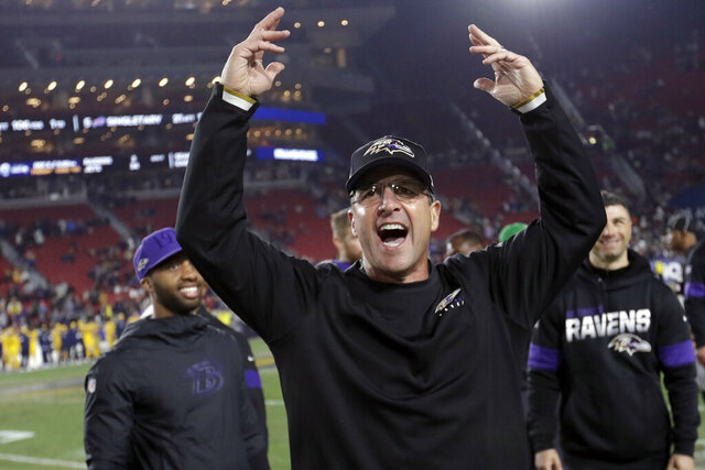 FILE - In this Nov. 25, 2019, file photo, Baltimore Ravens head coach John Harbaugh celebrates after their win against the Los Angeles Rams during an NFL football game in Los Angeles. After a loss to the Cleveland Browns earlier this season, Harbaugh gathered the players in the locker room to provide his candid take on the state of an underachieving squad that looked nothing like a Super Bowl contender. Flash forward to last Sunday, when the Ravens completed the regular season with a 14-2 record by beating the Pittsburgh Steelers 28-10 despite resting seven starters because they had already clinched the top seed in the AFC for the first time in franchise history. Comeback complete. (AP Photo/Marcio Jose Sanchez, File)