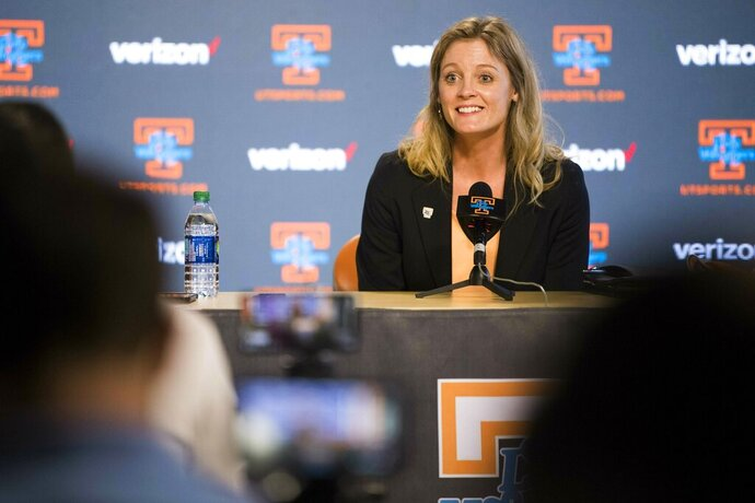 Kellie Harper speaks during a press conference announcing her as the new head coach of the Lady Vols, in the Ray and Lucy Hand Studio on University of Tennessee's campus Wednesday, April 10, 2019 in Knoxville, Tenn. (Caitie McMekin/Knoxville News Sentinel via AP)