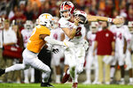 Tennessee defensive back Shawn Shamburger (12) sacks Indiana quarterback Peyton Ramsey (12) during the Gator Bowl NCAA college football game in Jacksonville, Fla., Thursday, Jan. 2, 2020. (Calvin Mattheis/Knoxville News Sentinel via AP)