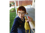 This photo shows Melissa Jean Footlick, 42, of San Diego, with rubber chickens from a game she purchased online. Footlick is among millions who have helped online retail sales surge as consumer spending fell off rapidly when businesses shut down. (Melissa Jean Footlick via AP)