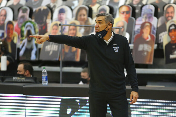 Villanova head coach Jay Wright reacts to a play during an NCAA college basketball game against Providence in Providence, R.I., Saturday, March 6, 2021. (AP Photo/Stew Milne)