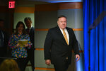 Secretary of State Mike Pompeo arrives to a press conference at the State Department, Wednesday, June 24, 2020 in Washington, followed by State Department spokeswoman Morgan Ortagus and State Department Coordinator for Counterterrorism, Ambassador Nathan Sales. (Mandel Ngan/Pool via AP)