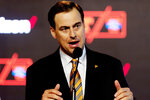 FILE - In this Sept. 14, 2017, file photo, Tennessee athletic director John Currie speaks during a news conference in Knoxville, Tenn. Currie said athletes for all women's sports at the school can refer to themselves as the Lady Volunteers, changing a decision his predecessor made three years ago. (Calvin Mattheis/Knoxville News Sentinel via AP, File)