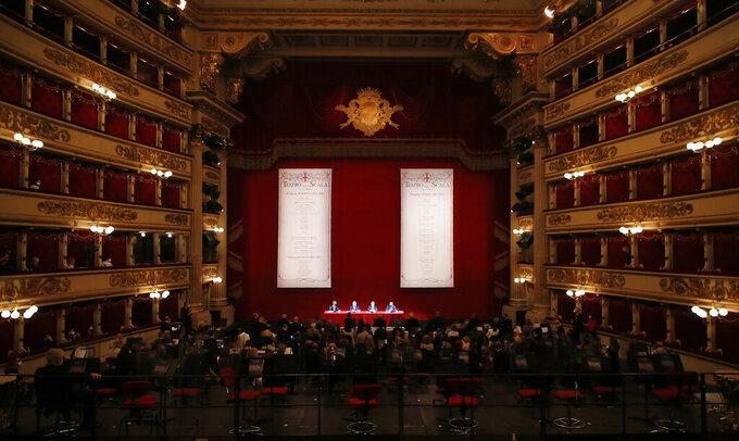 A view of the Milan La Scala opera house during a press conference to present 2021/2022 season, in Milan, Italy, Monday, May 31, 2021. (AP Photo/Antonio Calanni)