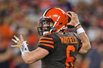 FILE - In this Sept. 22, 2019, file photo, Cleveland Browns quarterback Baker Mayfield throws a pass during the first half of an NFL football game against the Los Angeles Rams, in Cleveland. The Browns and Baltimore Ravens meet on Sunday, Sept. 29. (AP Photo/David Dermer, File)
