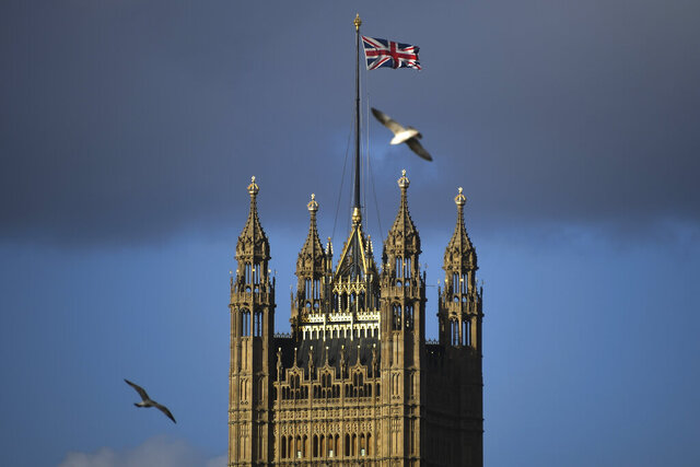 The Victoria Tower stands in Westminster, in London, Saturday, Feb. 1, 2020. Britain has officially left the European Union on Friday after a debilitating political period that has bitterly divided the nation since the 2016 Brexit referendum.(AP Photo/Alberto Pezzali)