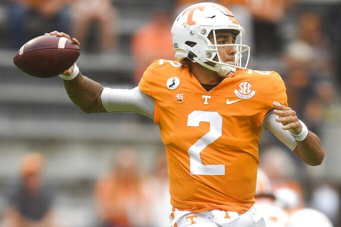 Tennessee quarterback Jarrett Guarantano (2) throws a pass against Alabama during an NCAA college football game in Knoxville, Tenn., Saturday, Oct. 24, 2020. (Caitie McMekin/Knoxville News Sentinel via AP)