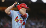 St. Louis Cardinals' Paul Goldschmidt bats against the San Francisco Giants during the third inning of a baseball game in San Francisco, Saturday, July 6, 2019. (AP Photo/Jeff Chiu)