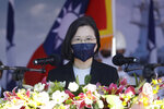 Taiwan's President Tsai Ing-wen delivers a keynote speech during the commissioning ceremony of the the domestically made Ta Jiang warship at the Suao naval base in Yilan county, Taiwan, Thursday, Sept. 9, 2021. Taiwan's president oversaw the commissioning of the new domestically made navy warship Thursday as part of the island's plan to boost indigenous defense capacity amid heightened tensions with China. (AP Photo/Chiang Ying-ying)