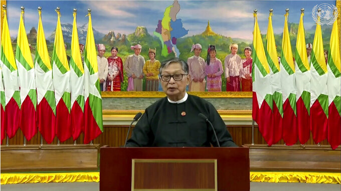 In this image made from UNTV video, Kyaw Tint Swe, Minister for the Office of the State Counsellor of Myanmar, speaks in a pre-recorded message which was played during the 75th session of the United Nations General Assembly, Tuesday, Sept. 29, 2020, at U.N. headquarters in New York. (UNTV via AP)