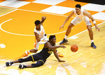 Appalachian State guard Adrian Delph (20) loses the ball during an NCAA college basketball game against Tennessee in Knoxville, Tenn., on Tuesday, Dec. 15, 2020.  (Brianna Paciorka/Knoxville News Sentinel via AP)