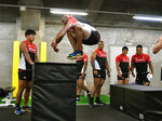 Japan's player Michael Leitch works out with teammates in Tokyo, ahead of the Rugby World Cup Pool A game against Scotland, in Tokyo, Thursday, Oct. 10, 2019. (Tsuyoshi Ueda/Kyodo News via AP)