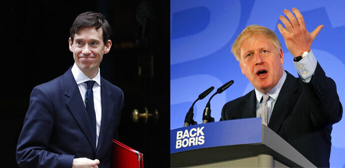 This combination photo shows Britain's Secretary of State for International Development, Rory Stewart, leaving 10 Downing Street in London, Tuesday, June 11, 2019, left, and Conservative Party lawmaker Boris Johnson speaking during the official launch of his leadership campaign, in London, Wednesday June 12, 2019. The populist and the pragmatist: of the ten candidates running to become Britain's next prime minister, they're the ones generating most of the buzz. The former is Boris Johnson, who ran London as mayor for eight years until 2016 and then became foreign secretary until his resignation last summer. The pragmatist is International Development Secretary Rory Stewart, the self-styled