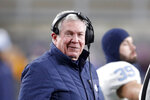 FILE - In this Nov. 14, 2019, file photo, North Carolina head coach Mack Brown stands on the sideline during an NCAA college football game against Pittsburgh in Pittsburgh. The Tar Heels are No. 18 to start the season and have 10 returning starters back on offense. (AP Photo/Keith Srakocic, File)