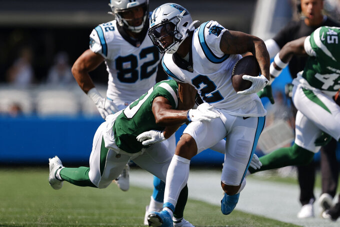 Carolina Panthers wide receiver D.J. Moore runs against the New York Jets during the second half of an NFL football game Sunday, Sept. 12, 2021, in Charlotte, N.C. (AP Photo/Nell Redmond)