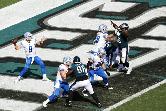 Detroit Lions' Matthew Stafford (9) passes during the second half of an NFL football game against the Philadelphia Eagles, Sunday, Sept. 22, 2019, in Philadelphia. (AP Photo/Michael Perez)