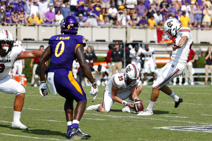 South Carolina's Parker White (43) kicks the game-winning field goal against the East Carolina in the closing seconds of the second half of an NCAA college football game in Greenville, N.C., Saturday, Sept. 11, 2021. (AP Photo/Karl B DeBlaker)