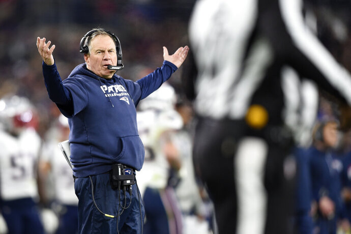 New England Patriots head coach Bill Belichick gestures toward an official during the second half of an NFL football game against the Baltimore Ravens, Sunday, Nov. 3, 2019, in Baltimore. (AP Photo/Gail Burton)