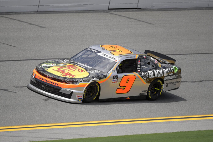 Noah Gragson (9) makes his way along the front stretch during a NASCAR Xfinity Series auto race at Daytona International Speedway, Saturday, Aug. 28, 2021, in Daytona Beach, Fla. (AP Photo/Phelan M. Ebenhack)