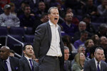 Northwestern head coach Chris Collins calls his team during the first half of an NCAA college basketball game against Nebraska in Evanston, Ill., Saturday, Jan. 11, 2020. (AP Photo/Nam Y. Huh)