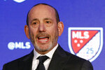 FILE - In this Feb. 26, 2020, file photo, Major League Soccer Commissioner Don Garber speaks during the Major League Soccer 25th Season kickoff event in New York. Major League Soccer embarks on the 2021 season with — another — new labor agreement in hand, the return of a two big stars, a new team in Austin and lessons learned from an eventful 2020.  (AP Photo/Richard Drew, File)