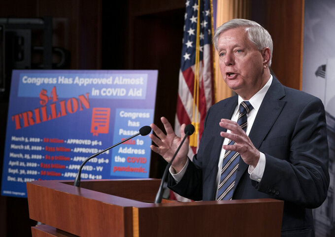 Sen. Lindsey Graham, R-S.C., leads a Republican news conference during a delay in work on the Democrats' $1.9 trillion COVID-19 relief bill, at the Capitol in Washington, Friday, March 5, 2021. (AP Photo/J. Scott Applewhite)