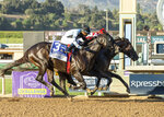 In a photo provided by Benoit Photo, Omaha Beach and jockey Mike Smith, Inside, overpower Shancelot, outside, with Emisael Jaramillo, to win the Grade I, $300,000 Santa Anita Sprint Championship horse race Saturday, Oct. 5, 2019, at Santa Anita in Arcadia, Calif. (Benoit Photo via AP)