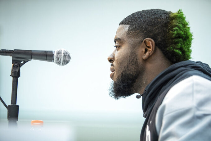 Notre Dame running back Dexter Williams talks to the media at the NFL Scouting Combine on Thursday, Feb. 28, 2019 in Indianapolis. (Detroit Lions via AP)