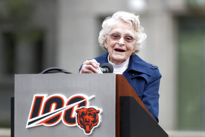Chicago Bears owner Virginia Halas McCaskey, daughter of Bears' founder George S. Halas, speaks during a unveiling ceremony outside Soldier Field of statues honoring her father and Walter Payton Tuesday, Sept. 3, 2019, in Chicago. (AP Photo/Charles Rex Arbogast)