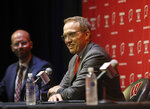 Chris McIntosh, right, the University of Wisconsin's new athletic director, answers questions from the media in Madison, Wis., Wednesday, June 2, 2021. (Amber Arnold/Wisconsin State Journal via AP)