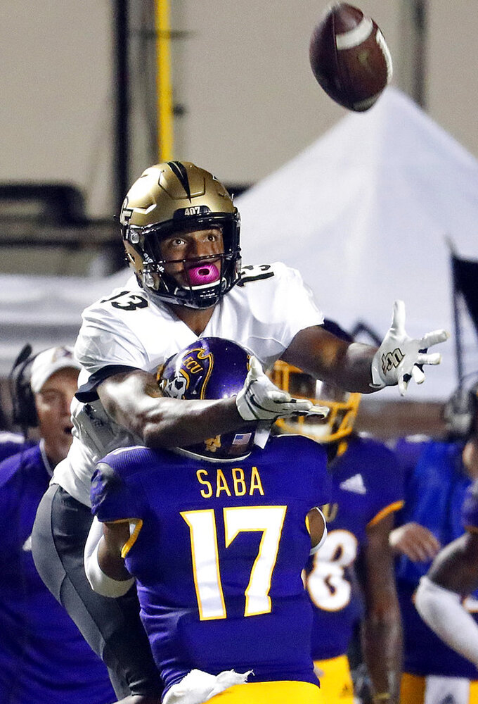 East Carolina's Warren Saba (17) interferes with Central Florida's Gabriel Davis (13) on a pass attempt during the first half of an NCAA college football game in Greenville, N.C., Saturday, Oct. 20, 2018. (AP Photo/Karl B DeBlaker)