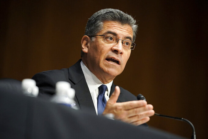 Xavier Becerra testifies during a Senate Finance Committee hearing on his nomination to be secretary of Health and Human Services on Capitol Hill in Washington, Wednesday, Feb. 24, 2021. (Greg Nash/Pool via AP)