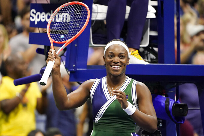 Sloane Stephens, of the United States, waves to the crowd after defeating Coco Gauff, of the United States, during the second round of the US Open tennis championships, Wednesday, Sept. 1, 2021, in New York. (AP Photo/John Minchillo)