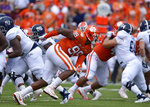 FILE - In this Sept. 15, 2018, file photo, Clemson's Clelin Ferrell (99) rushes into the backfield during the first half of an NCAA college football game against Georgia Southern, in Clemson, S.C. Ferrell's pass-rushing prowess has helped put No. 2 Clemson on the cusp of its third consecutive Atlantic Coast Conference championship and another berth in the College Football Playoff. (AP Photo/Richard Shiro, File)
