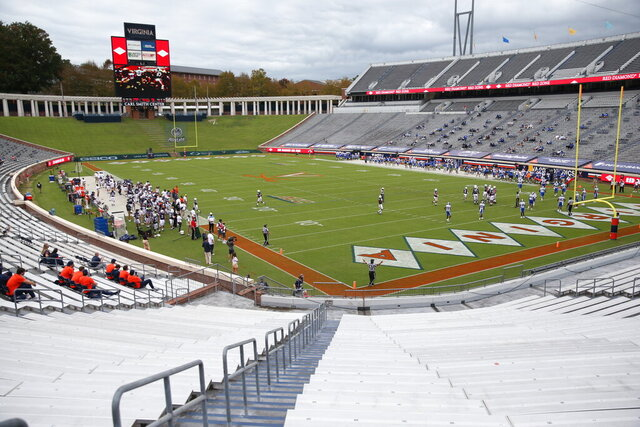 Virginia takes on Duke during an NCAA college football game Saturday, Sept. 26, 2020, in Charlottesville, Va. (Erin Edgerton/The Daily Progress via AP)