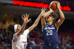 Connecticut forward Olivia Nelson-Ododa (20) shoots over Temple center Shannen Atkinson (11) during the first half of an NCAA college basketball game Sunday, Nov. 17, 2019, in Philadelphia. (AP Photo/Laurence Kesterson)