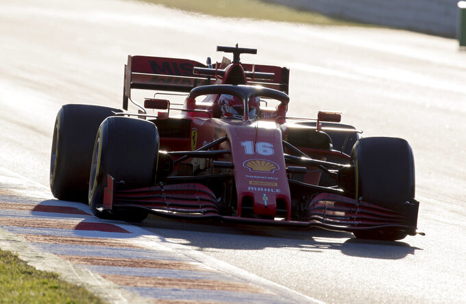 Ferrari driver Charles Leclerc of Monaco drives during the Formula One pre-season testing session at the Barcelona Catalunya racetrack in Montmelo, outside Barcelona, Spain, Wednesday, Feb. 26, 2020. (AP Photo/Joan Monfort)