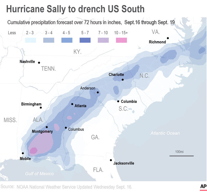 Hurricane Sally has lumbered ashore near Gulf Shores, Alabama, as a Category 2 storm, with top winds of 105 mph.;