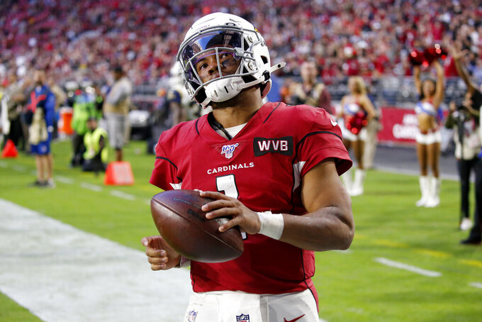 Arizona Cardinals quarterback Kyler Murray (1) runs into the end zone for a touchdown against the Los Angeles Rams during the second half of an NFL football game, Sunday, Dec. 1, 2019, in Glendale, Ariz. (AP Photo/Ross D. Franklin)