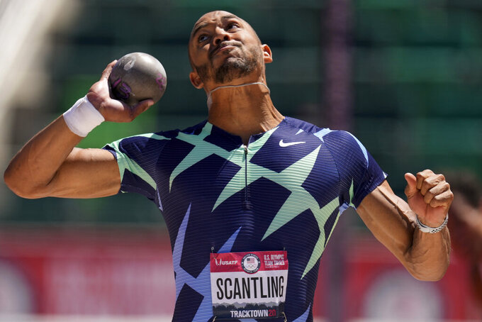 Garrett Scantling competes during the decathlon shot put at the U.S. Olympic Track and Field Trials Saturday, June 19, 2021, in Eugene, Ore. (AP Photo/Charlie Riedel)