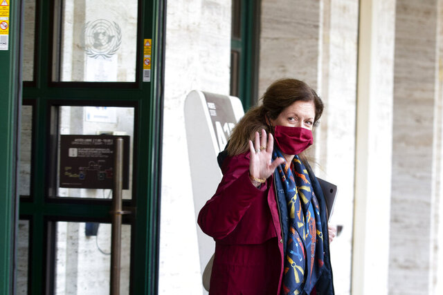 "Stephanie Williams, the head of the United Nations support mission for Libya and former U.S. State Department official, wearing a protective face mask against the spread of the coronavirus leaves the building after a meeting of the fourth round of the Libyan Joint Military Commission, at the European headquarters of the United Nations in Geneva, Switzerland, Monday, Oct. 19, 2020. Military leaders from Libya's warring sides met Monday in Geneva in hopes of a U.N.-brokered breakthrough that could pave the way for a ""complete and permanent cease-fire"" in the conflict-ridden North African country. (Salvatore Di Nolfi/Keystone via AP)"
