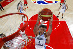 Luis Scola of Argentina in action during the Basketball World Cup 2019 finals match between Argentina and Spain in Beijing, China, Sunday Sept. 15, 2019. (How Hwee Young/Pool via AP)