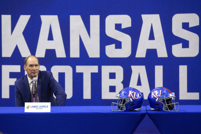 University of Kansas new NCAA college football head coach Lance Leipold speaks during a news conference in Lawrence, Kansas, Monday, May 3, 2021.  (Evert Nelson/The Topeka Capital-Journal via AP)