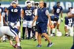 Penn State coach James Franklin watches the NCAA college football team's practice Wednesday, Aug. 28, 2019, in State College, Pa. (Joe Hermitt/The Patriot-News via AP)