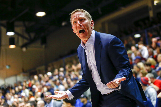 Gonzaga coach Mark Few yells at a referee during the first half of the team's NCAA college basketball game against Pepperdine on Saturday, Feb. 15, 2020, in Malibu, Calif. (AP Photo/Ringo H.W. Chiu)
